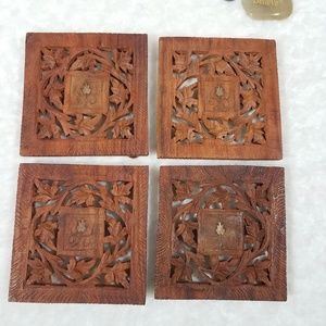 Vintage Hand Carved Red Teakwood Trivets Set of 4